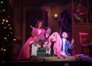 """Andrea Rivette, Duke Lafoon, and Brandon McKenney bring the fabulous family to life during """"A Christmas Story: The Musical."""" (Photo by Aaron Sutten)"""