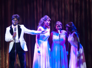 """""""Dreamgirls"""" is loosely based on the rise-to-stardom story of Diana Ross and The Supremes. (D. Jerome Wells, Zuri Washington, Desirée Roots, and Felicia Curry. Photo by Aaron Sutten)"""