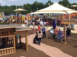 At ARCpark in Northside, families have fully accessible outdoor play spaces designed for kids of all abilities to socialize and play freely and safely.