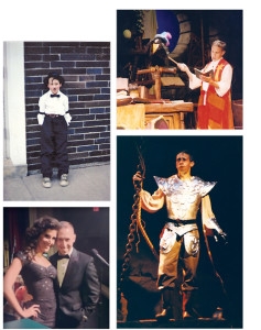 Clockwise from top: Scott performed on the Busch Gardens, Williamsburg stage in the late nineties. Fourth-grade Scott was Charlie Chaplin in a musical revue. In Man of La Mancha, Scott's senior play at Pittsfield High, Scott was Aldonzo alongside Hollywood actress and classmate, Elizabeth Banks. Scott is shown right with Eva DeVirgilis after a 2013 concert from the couple at Westminster Canterbury in Richmond.