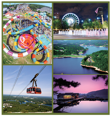 Clockwise from top left, Six Flags Over Georgia, SkyView Atlanta and Centennial Olympic Park, Lake Lanier, and Stone Mountain Theme Park – the most visited family attraction in Georgia.