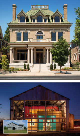 The Monument Avenue home of Paul and Julie Weissend, owners of Dovetail Construction, and their Brook Road office below reflect the industry's latest innovations in green tech.