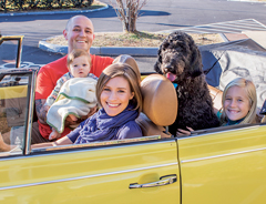 The family behind the dynasty – Ian holds Sawyer, with Tanya at the wheel, and Eden and Keswick in the backseat.