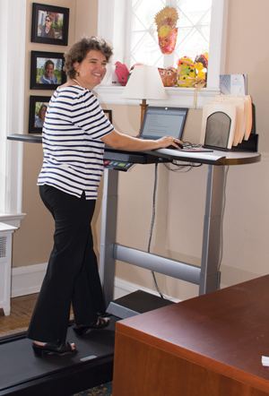 Wendy Martin says the walkstation in her home office helps her eliminate hours of sitting for improved health.