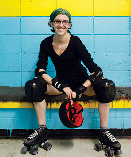 Looking for an alternative team sport, Lily went with roller derby and never looked back. Flat-track skating in 